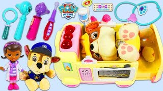 PAW PATROL Rubble Visits Doc McStuffins Toy Ambulance!