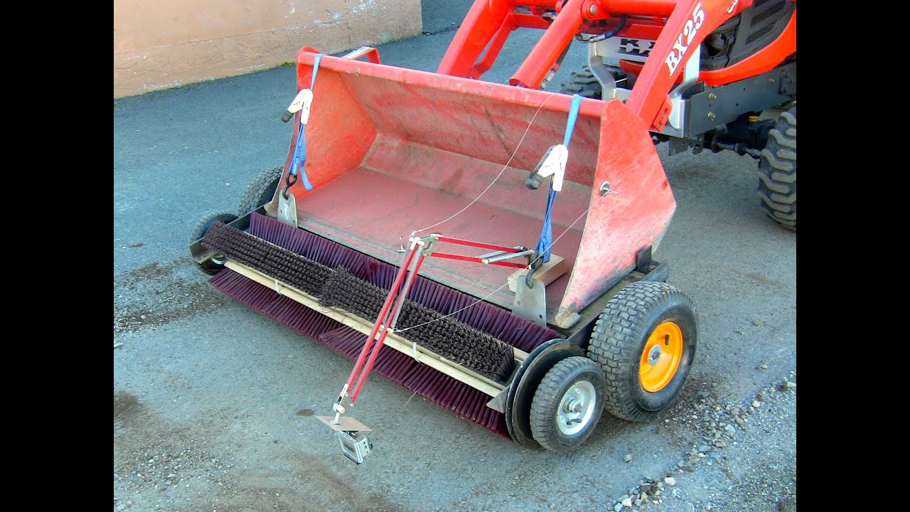 Diy Tractor Accessories : Homemade rotary broom for tractor bucket on kubota bx
