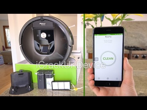 Roomba 980 Vacuum (iRobot): Unboxing and Setup Review: iRobot Roomba 980 Unboxing with iAdapt 2.0 Robot Vacuum 980 Reviewed and Unboxed in this 2015 Setup video. NEW Self-Emptying iRobot i7+ HERE: https://youtu.be/crwgdGWocig 👈🔥  NEW Scooba 450 Robot Mop Review (01-22-16): https://youtu.be/GVhGESKs5sQ  Details on the New iRobot 980 and other models on iRobot's site: http://btinfo.co/irobot-roomba-980  Purchase Roomba 980 via Amazon: http://amzn.to/1MJ6EUs  Quick Features (Reviewed Model):  Self-Charging Multi-Room Navigation iRobot HOME App Carpet Boost  Thank you for watching my coverage on the new iRobot Roomba 980 series and stay tuned for more!   Follow Me On Twitter: https://twitter.com/icrackuridevice    Like Me On Facebook: http://bit.ly/iCu-iD-FB   Subscribe if you enjoyed for more great videos! http://www.youtube.com/user/iCrackUriDevice  Note: This is the 2015 iRobot Roomba version 980 with AeroForce.