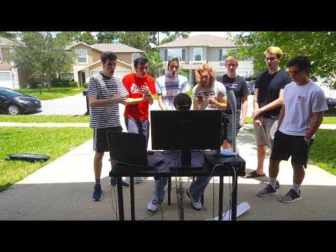 TRICKSHOTTING OUTSIDE IN OUR DRIVEWAY! ($100 RED HOUSE TRICKSHOT TOURNAMENT!)