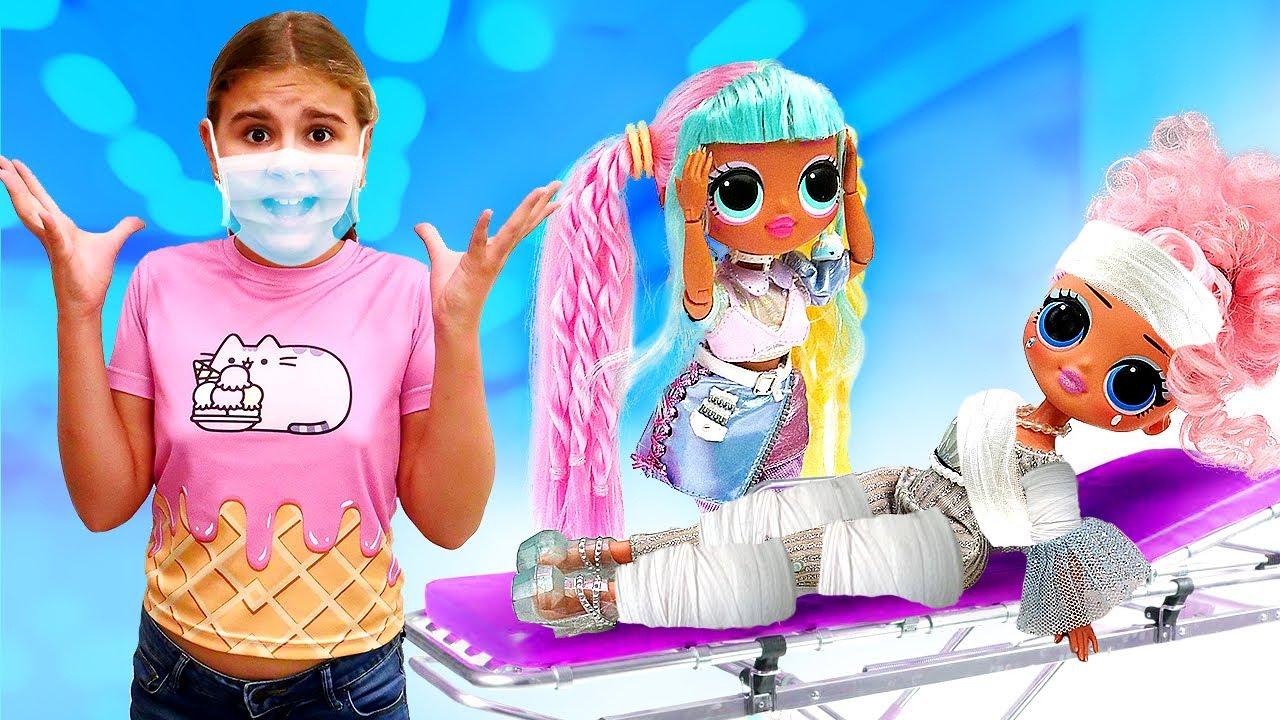 Куколка лол омг Crystal Star заболела! Барби и куклы LOL на фабрике мороженого - Видео для девочек
