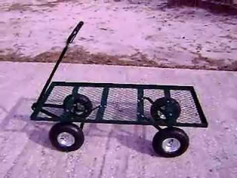 Flat Steel Nursery Landscaping Garden Wagon Cart Youtube