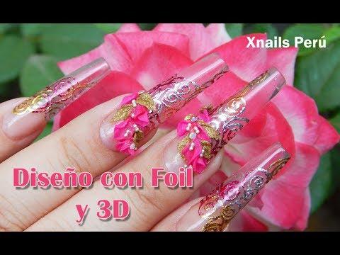 Uñas Acrilicas con Foil y 3d / Xnails Peru