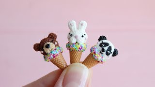 Miniature sweet animals ice cream. Polymer clay. Tutorial. DIY. Миниатюрное мороженое-рожок.