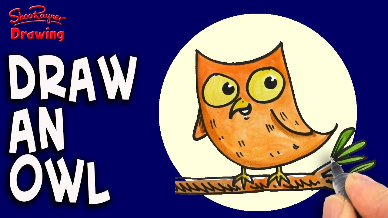 how to draw a cartoon n owl for kids easy step by step youtube