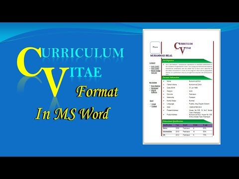 How to Make CV / Resume in MS Word