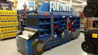 Exclusive Walmart Fortnite Battle Bus Funko Pop! and Merch Display Crackshot and more