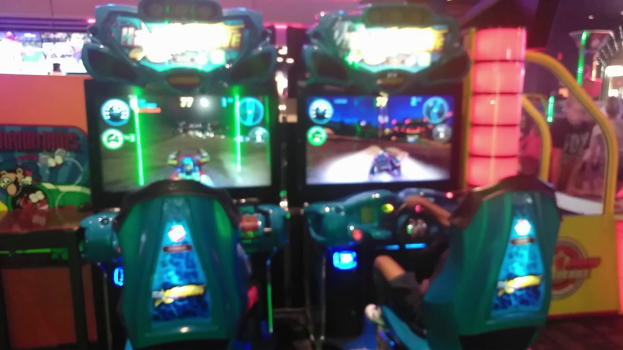 Playing Jet Ski Game At Dave And Busters