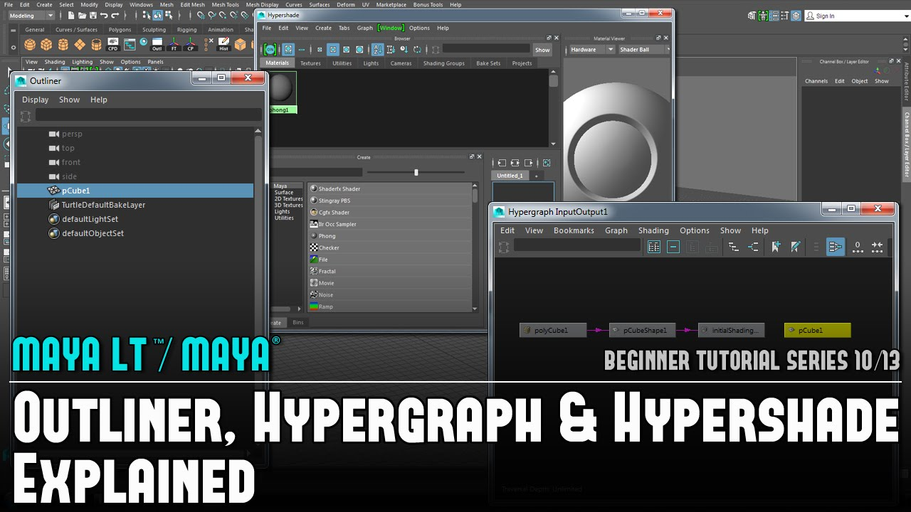 Maya LT/Maya: Outliner, Hypergraph and Hypershade Explained