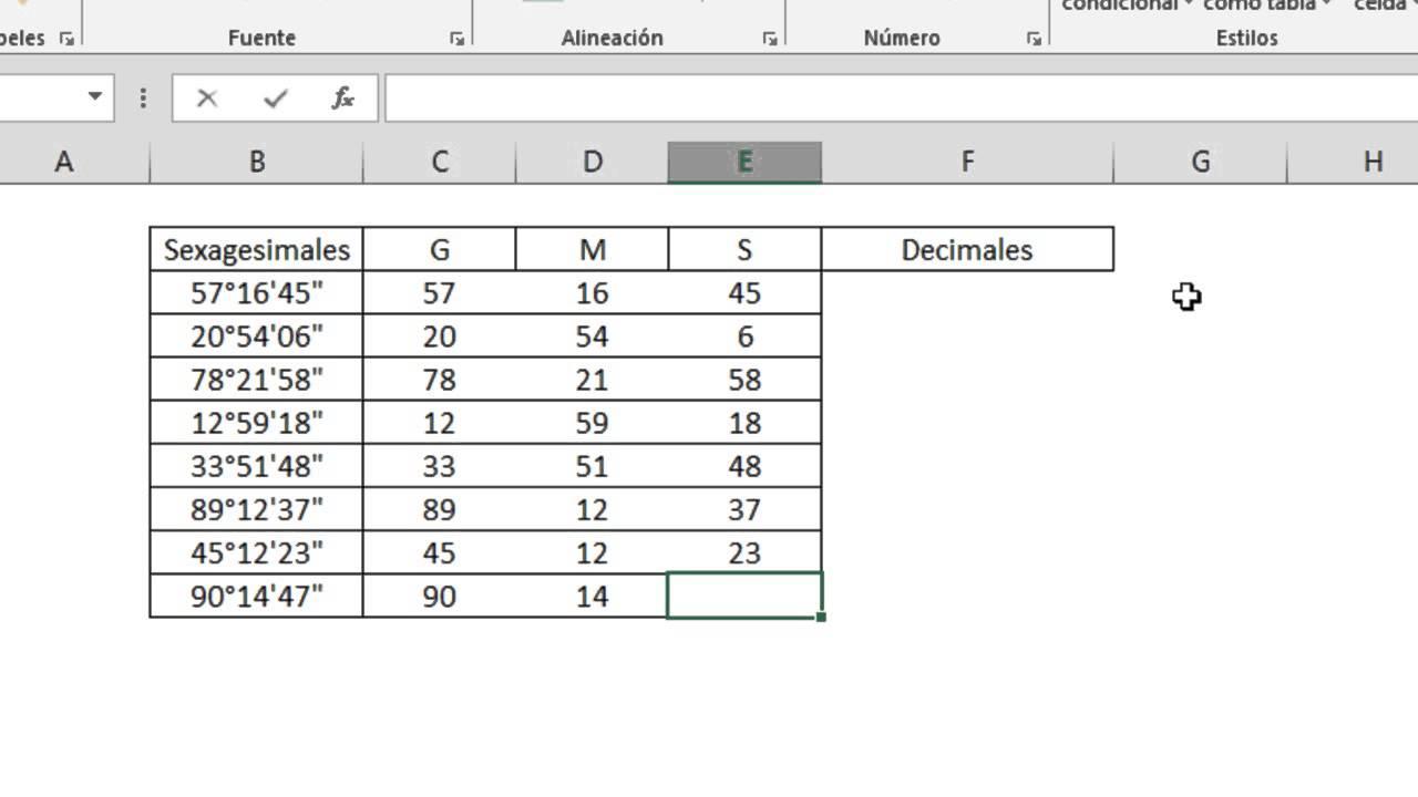 Como ingresar Grados Sexagesimales en Excel (GRADOS, MINUTOS y ...