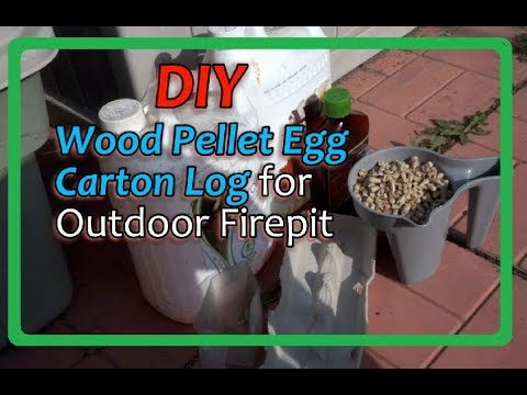 DIY Wood Pellet Egg Carton Log for outdoor fire pit