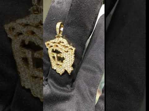 Iced-Out Diamond Jesus Head 14K Yellow Gold - Popular Jewelry