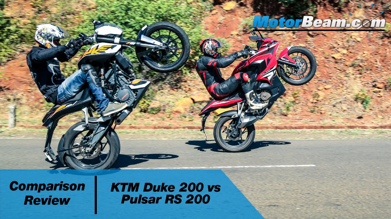 Bajaj pulsar rs200 vs ktm rc200 vs honda cbr250r comparison youtube - Ktm Duke 200 Vs Pulsar Rs 200 Comparison Review Motorbeam Youtube