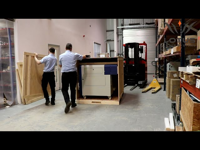 Lotus Laser Systems Blu system crate with ramp demo