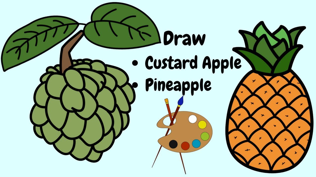 Coloring Pages Fruits |How to draw Pine Apple| How to draw Custard ...