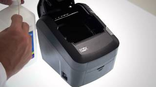 How to clean the print head on an evo green or high speed printer. warning! disconnect unit from power before performing this procedure reduce ris...