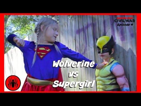 Little Heroes Wolverine vs Supergirl In Real Life | Civil War Episode 4 | Superhero Kids Movie