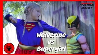 Little Heroes Wolverine vs Supergirl In Real Life | Civil War Episode 4 | Superhero Kids Movie