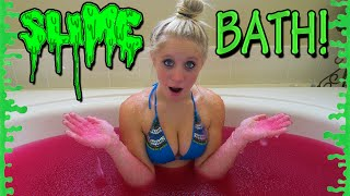 CRAZY SLIME BATH CHALLENGE! (ALMOST DROWNED)