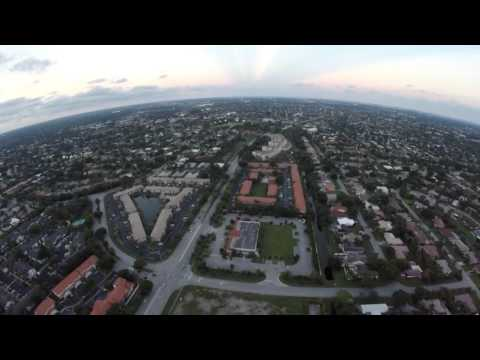 Flying over the city of Coral Springs, Florida