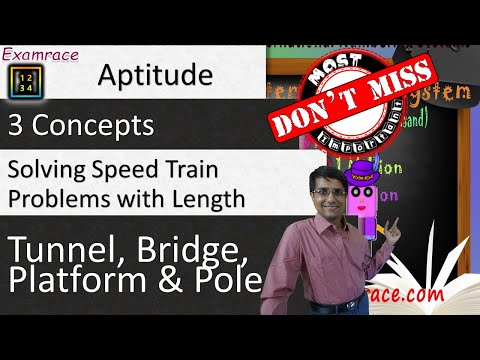 3 (& Half) Concepts for Solving Speed Train Problems with Length: Tunnel, Bridge, Platform & Pole