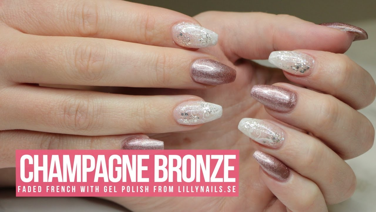 ACRYLIC/GEL NAIL DESIGN - TUTORIAL/HOW TO: Champagne Bronze - ACRYLIC/GEL NAIL DESIGN - TUTORIAL/HOW TO: Champagne Bronze - YouTube