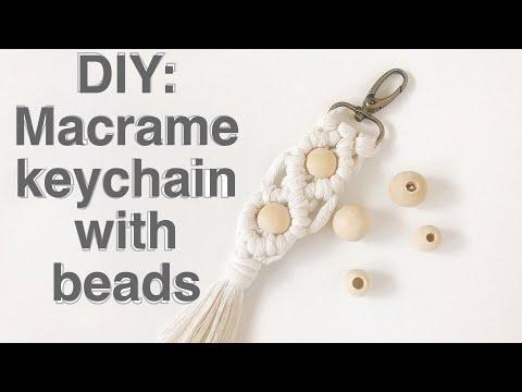 DIY: How to make a macrame keychain with beads. Keychain #2 Macrame tutorial.