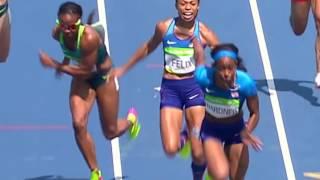 USA Women 4x100 relay drop baton after collision