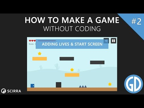 2. How To Make A Game (Adding Lives & Start Screen) Construct 2 Tutorial