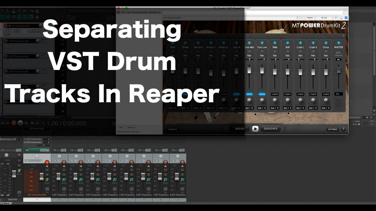 How to Separate Out Drums Tracks from a Drum VST in Reaper