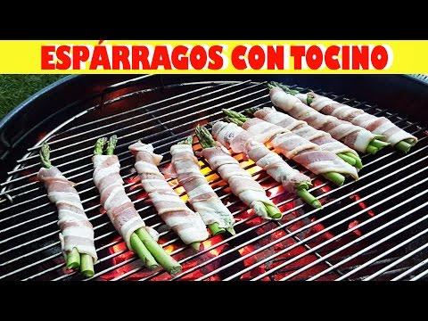 Receta Cocina Espárragos Con Tocino / Bacon Wrapped Asparagus Recipe