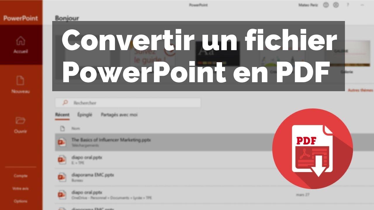 convertir un fichier powerpoint en pdf