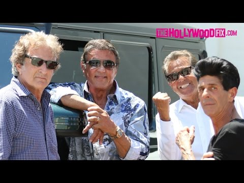 Sylvester Stallone Hangs Out With Friends In Beverly Hills Parking Lot 6.24.15 - TheHollywoodFix.com