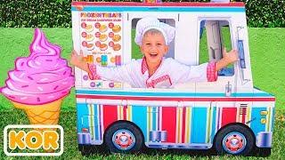 아이스크림 배달 트럭으로 노는 블라드와 니키타