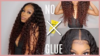NO GLUE!! MELTED My 6x6 Transparent Closure Install, Styling & Color Tutorial! | BabyHeir Collection