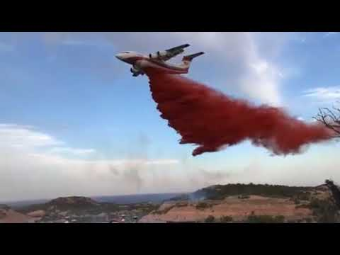 Texas Wildfire: Large Air Tanker Dropping Fire Retardant