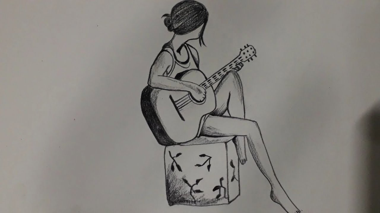 Pencil Drawing Of A Beautiful Girl Playing Guitar Pencil Drawing Of Girl Playing Guitar Youtube