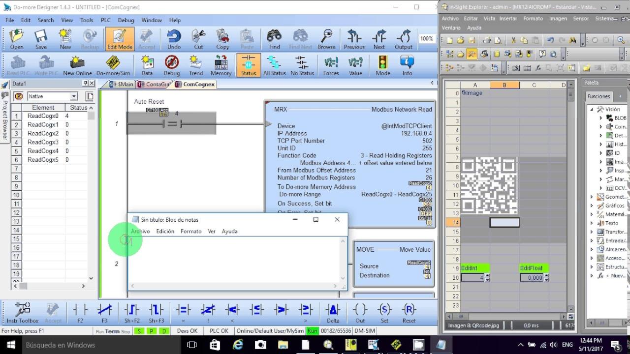 Comunicacion Cognex InSight y PLC Do-More Designer