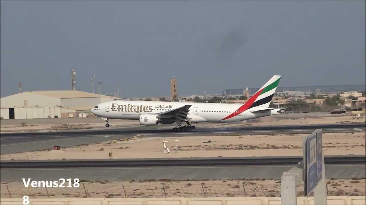 Emirates B-777 Landing @ Doha Int'l Airport - Runway 34 ...  Emirates B-777 ...