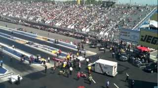 NHRA Accident!  Crewmember ran over by Top Fuel Dragster