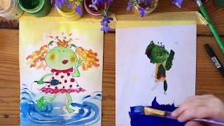ЛЯГУШКА. Рисуем с Варей. Ей 4 года. Рисование для малышей