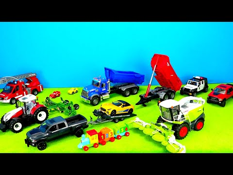 Tractor, Truck, Fire Engine, Harvester, Excavator, Lego Duplo Train, Colors & Numbers for Kids