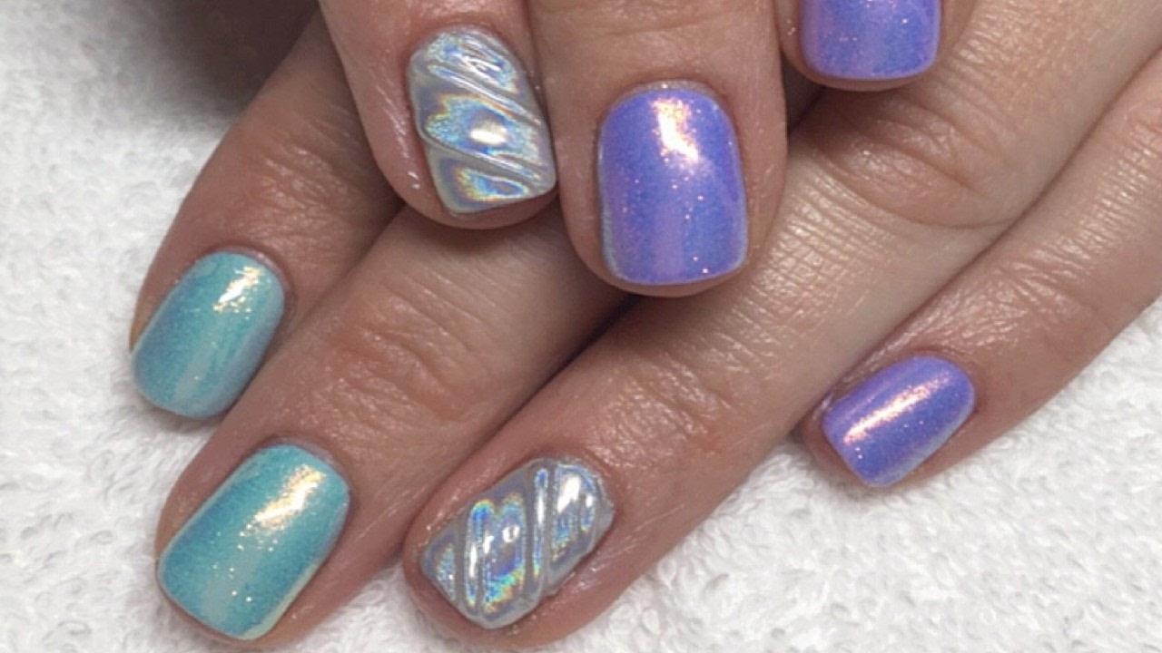 Easy Unicorn Holographic Horn & Mermaid Glitter Gel Nail Designs ...