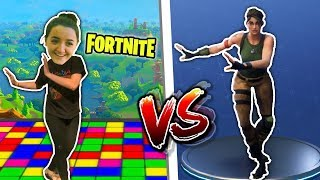 FORTNITE DANCE CHALLENGE WITH BLOOPERS.... REAL LIFE DANCE!