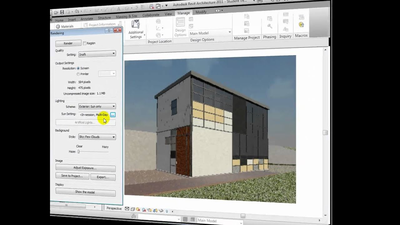 Revit architecture exterior renderings youtube - Revit exterior rendering settings ...