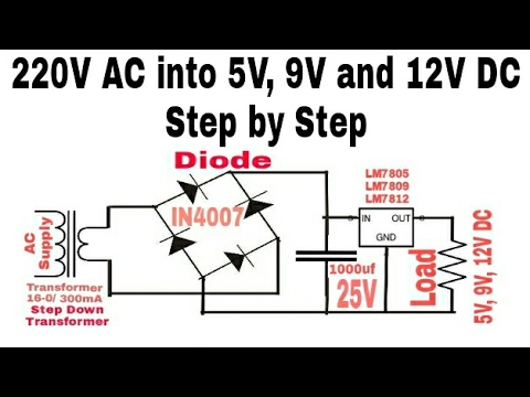 Convert 220V AC into 5V, 9V and 12V DC supply Step to
