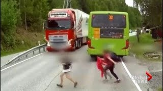 Incredible near miss of child as truck driver slams on brakes