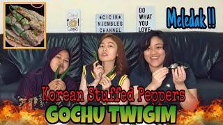 "LOMBA MAKAN CABE HIJAU JUMBO ""GOCHU TWIGIM"" | Korean Stuffed Peppers 🔥 MELEDAK !!"