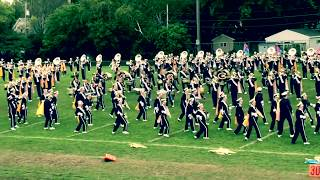 Blugold marching band preforming for GBAPS high schools marching exhibition
