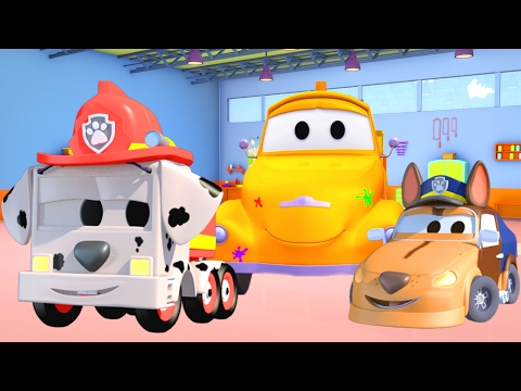 Tom The Tow Truck's Paint Shop: Baby Frank and Baby Matt are the Paw Patrols | Truck cartoons